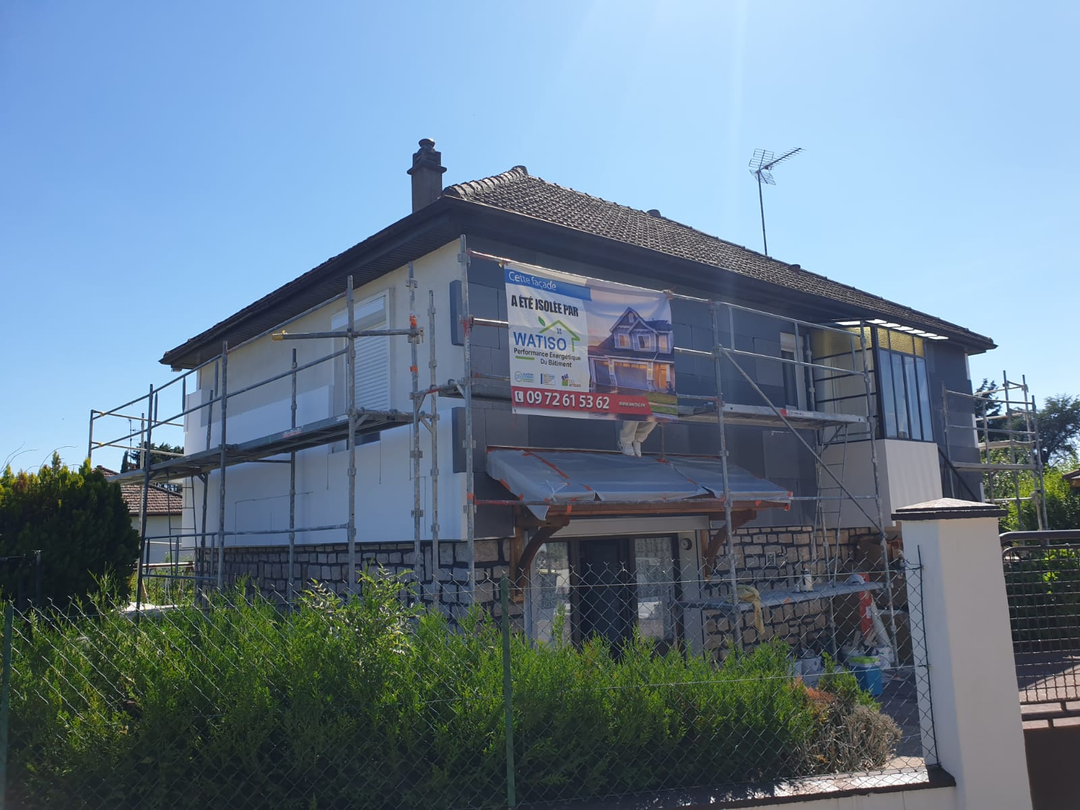 chantier d'isolation de la facade